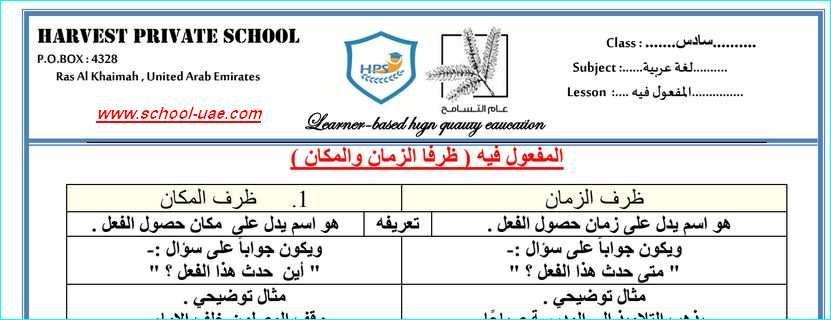 اوراق عمل درس المفعول فيه مادة اللغة العربية للصف السادس الفصل الاول 2020 مدرسة الامارات Private School Lesson School