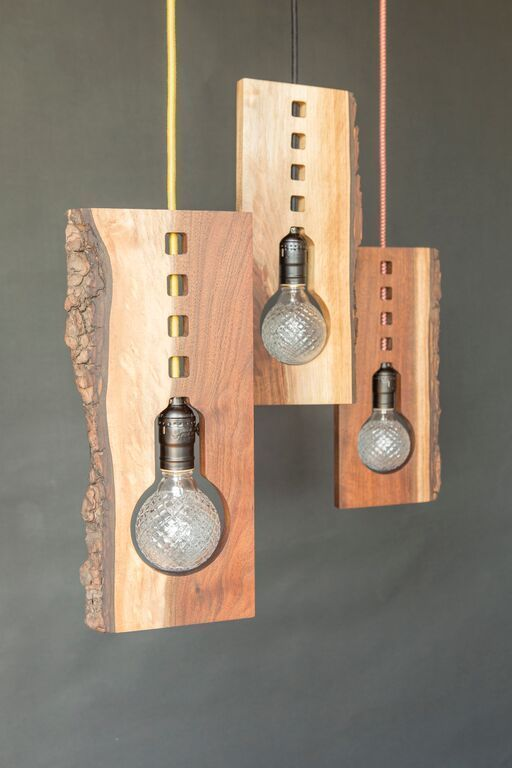 Photo of LaCuna Live Edge Pendant :: Handmade Wood Lighting by Kayla Burke Design