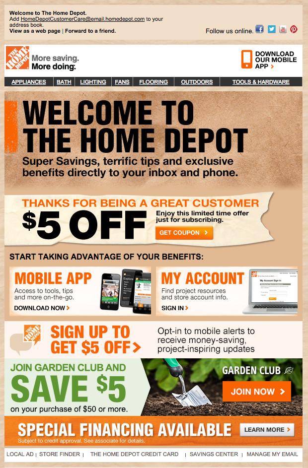 The Home Depot Welcome Email Email Marketing The Home Depot Mobile App
