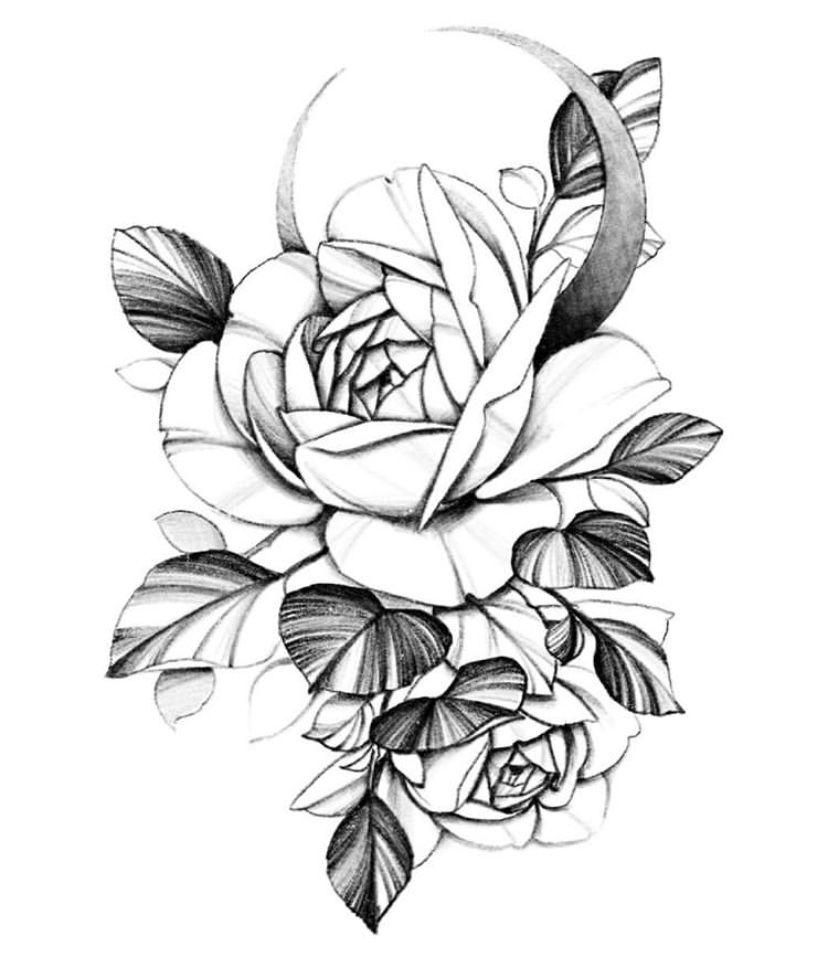 Картинки для тату черно белые цветы, тете днем рождения