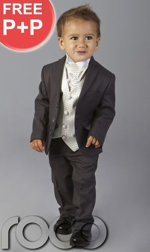baby toddlers boys wedding pageboy outfits grey ivory cravat suit age 6m 15yrs