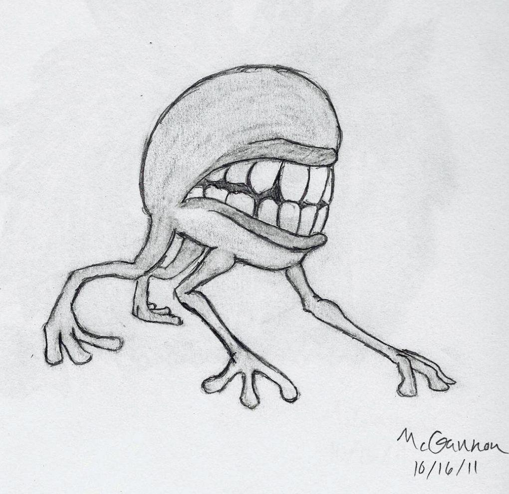 Talker Scary Drawings Monster Drawing Creepy Drawings