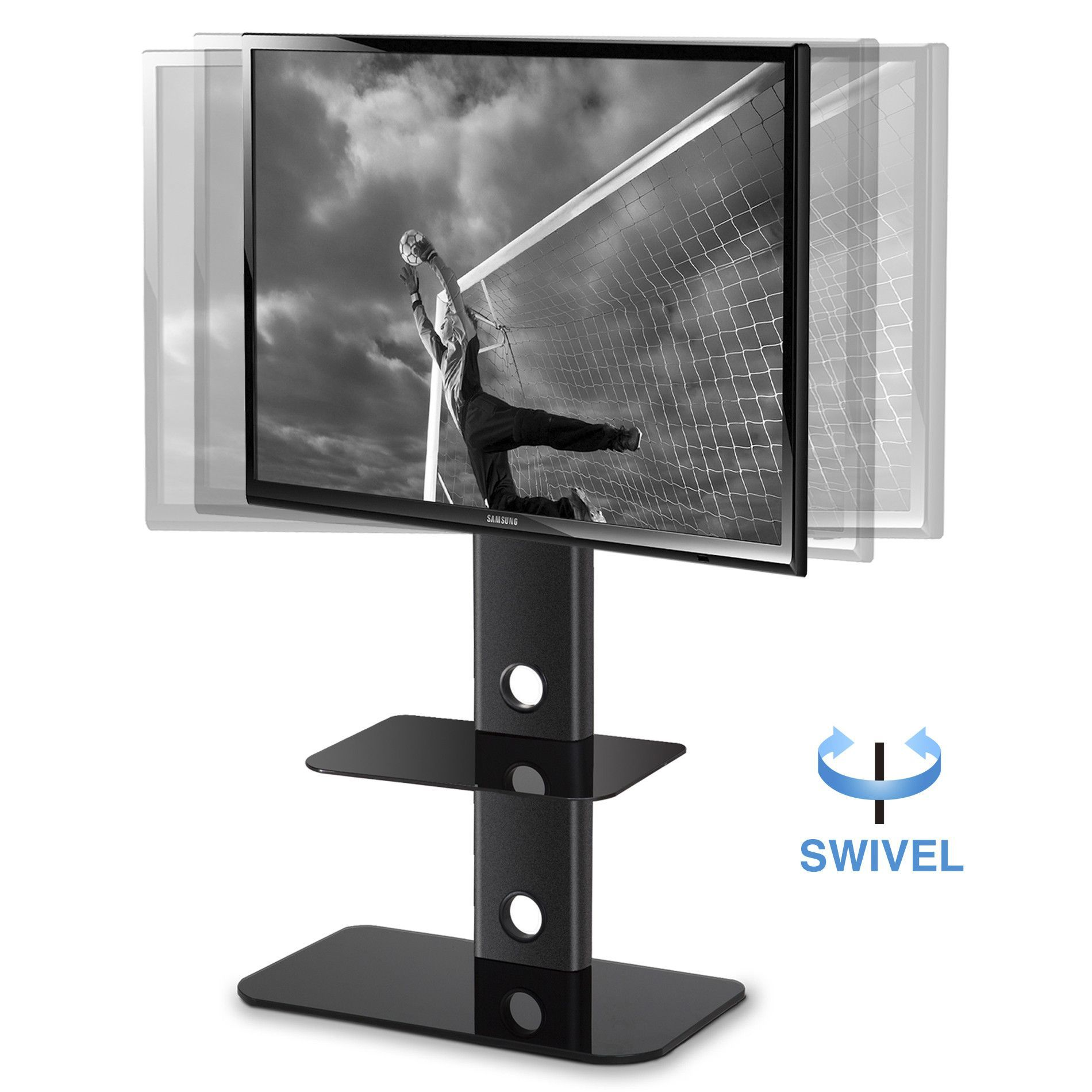 Fitueyes Tv Stand With Swivel Mount Component Shelf For 32 60 For Led Lcd Tv Tt214001mb Tv Stand With Swivel Mount Tv Stand With Mount Swivel Tv Stand