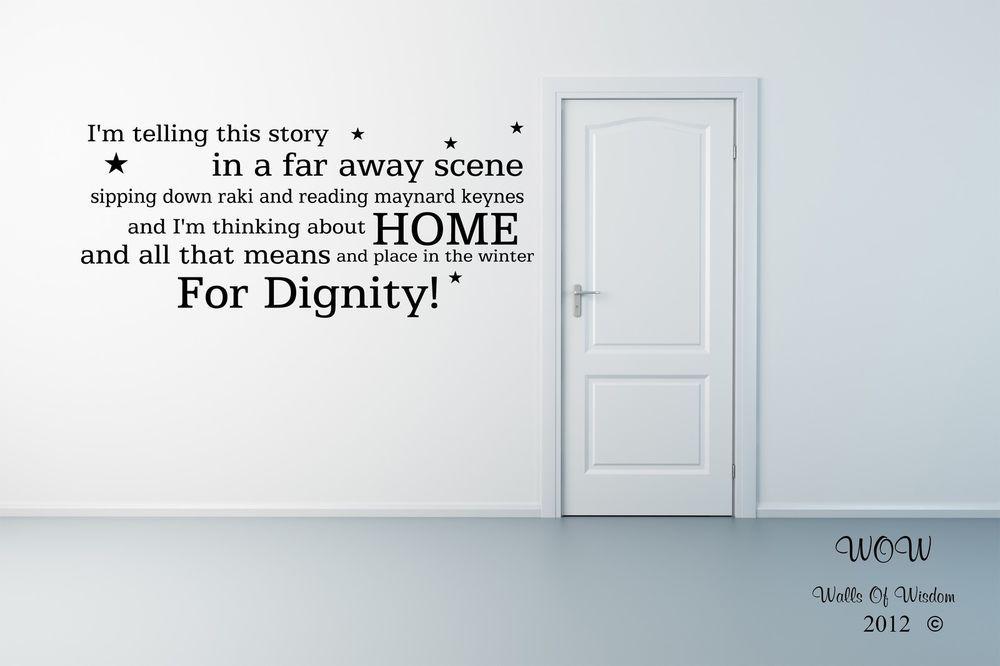Deacon Blue Dignity Lyric Wall Sticker / Wall Art Home Decor ...