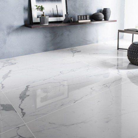 Carrelage sol et mur blanc effet marbre Rimini l60 x L120 cm Sol - Stratifie Mural Salle De Bain