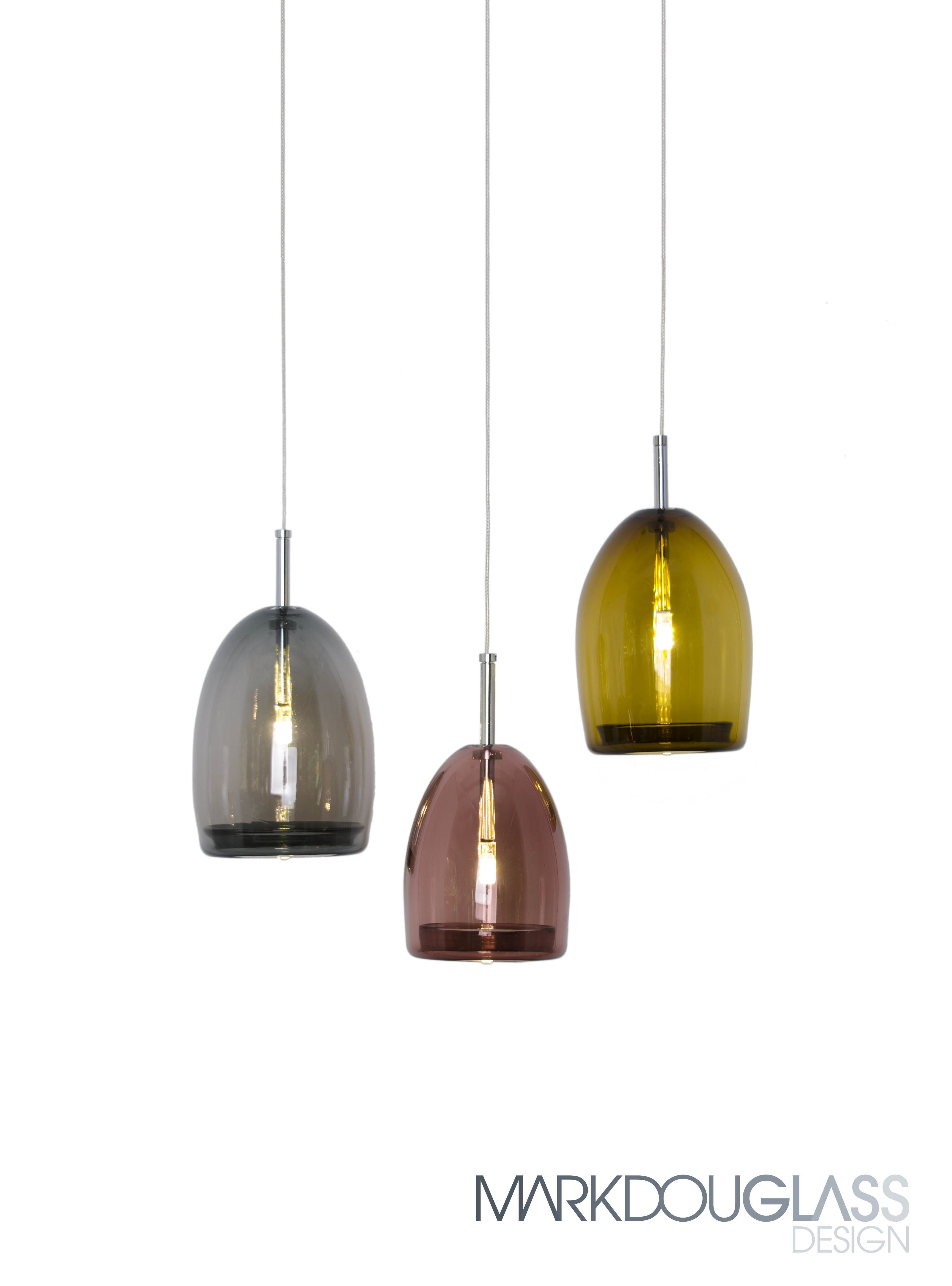 Bell is a handblown bell shaped glass, suspended by a fine 3mm stainless steel cable. Available in two sizes and eight colours. Transparent or satin frost finish.