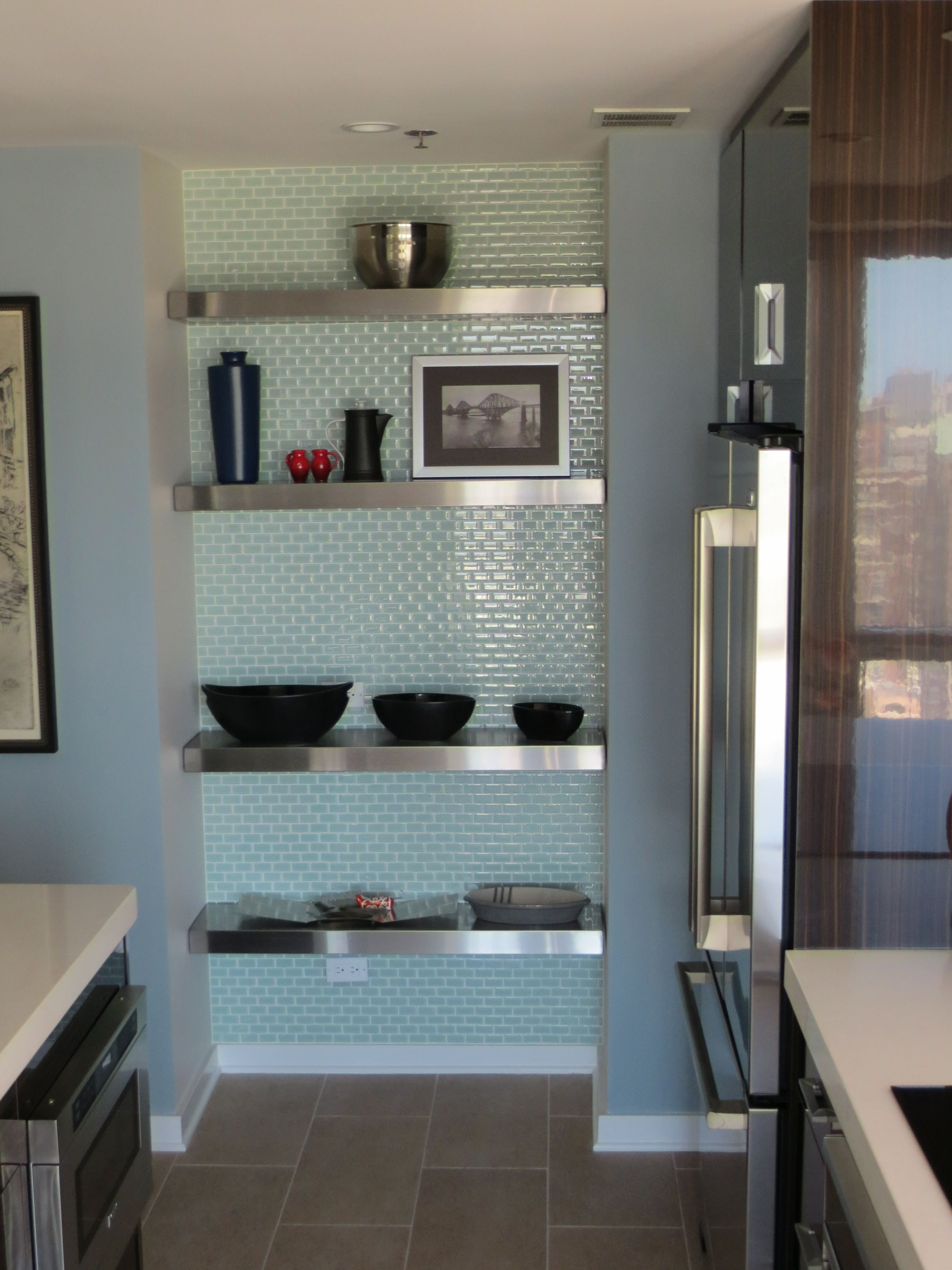 Modern Kitchen Alcove Floating Stainless Steel Shelves With Glass Tile