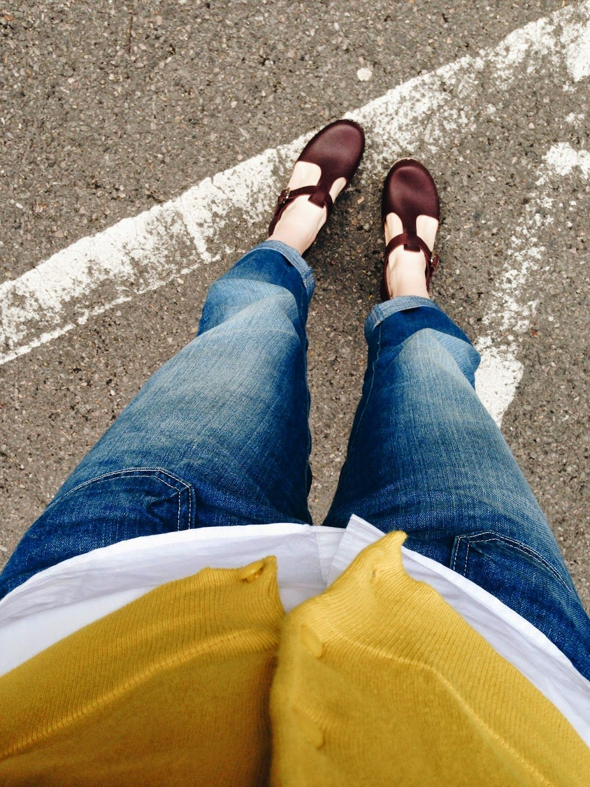 Lotta from Stockholm aubergine t-bar clogs // high waisted cropped jeans // mustard yellow Joules cardigan // Modern Mummy
