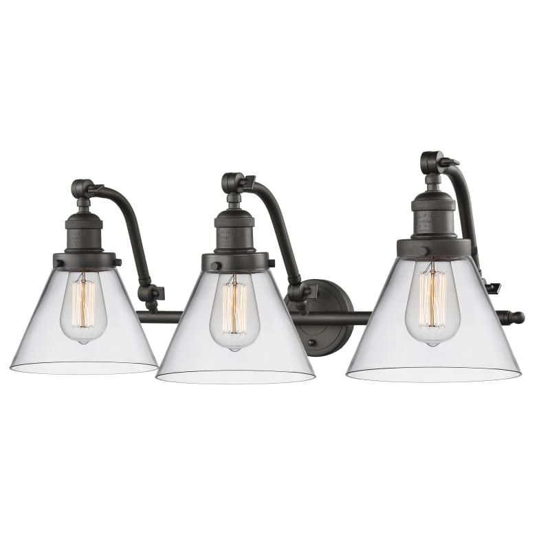 Photo of Innovations Lighting 515-3W Large Cone Large Cone 3 Light 28″ Wide Bathroom Vani Oiled Rubbed Bronze / Clear Indoor Lighting Bathroom Fixtures Vanity