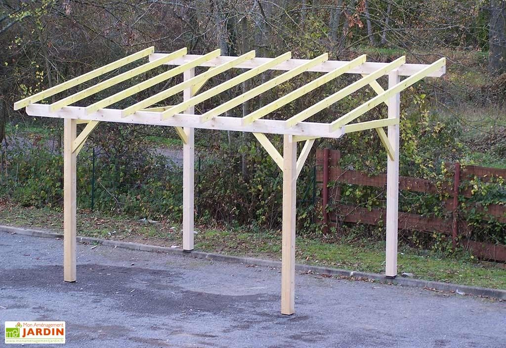 Carport Bois Toit 1 Pente (Sans Couverture) 5 x 3 m en