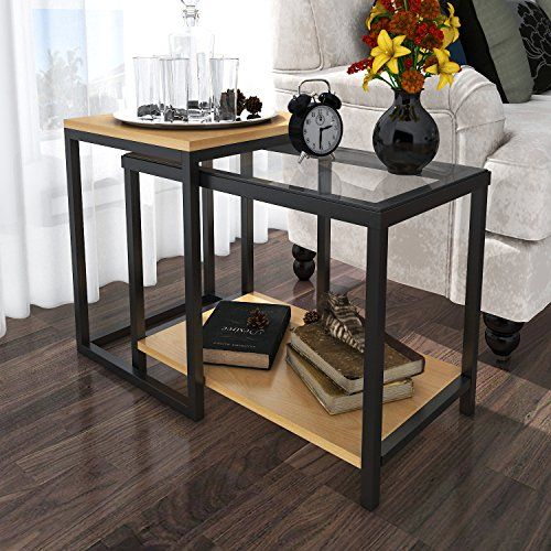Lifewit 2 piece end table nesting sofa side table set coffee lifewit 2 piece end table nesting sofa side table set coffee accent table watchthetrailerfo