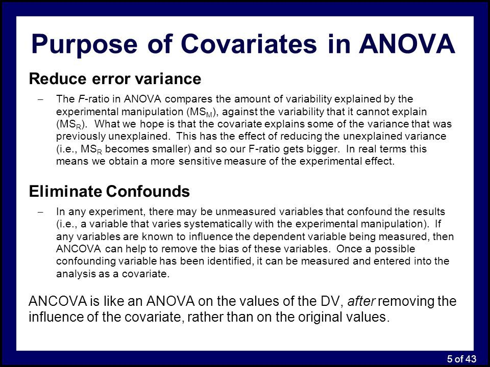 Ancova Analysis Of Covariance Enables An Experimenter To Statistically Remove Error Variance That Is Attributed To A Kno Cognitive Science Analysis Anova