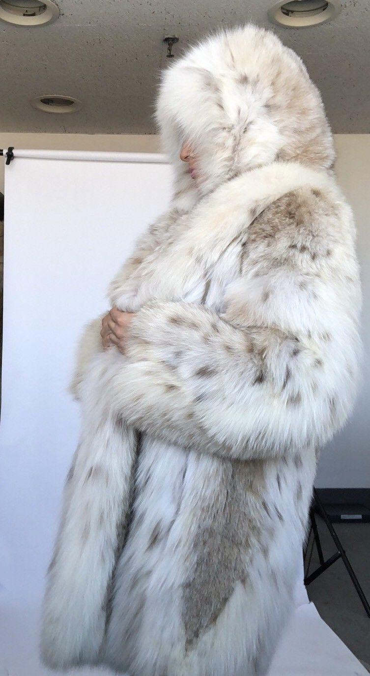 1529f3fa75f2 ~30,000$ UNUSED PURE WHITE FLUFFY RUSSIAN LYNX ALL BELLY FUR Coat HOOD 12    eBay