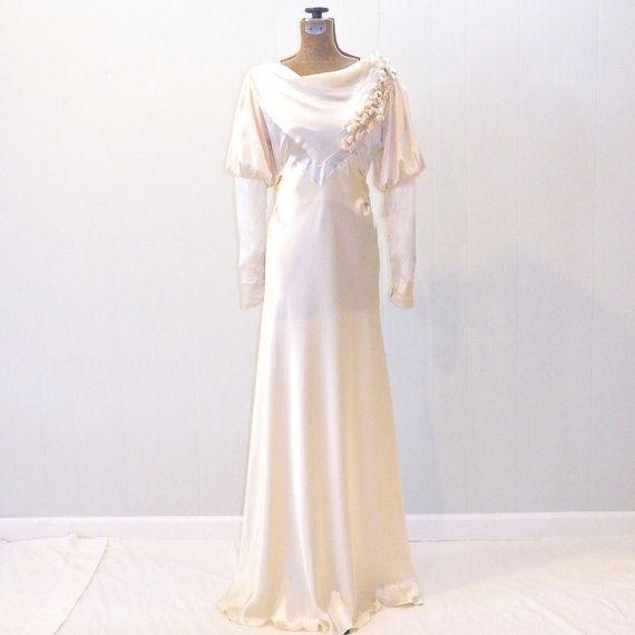 Vintage 1930s Wedding Dress, Silk Satin Wedding Gown, Bias Cut ...