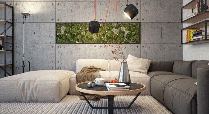 wohneinrichtung ideen wohnzimmer wandgestaltung betonwände Pinterest - wohnzimmer ideen braune couch