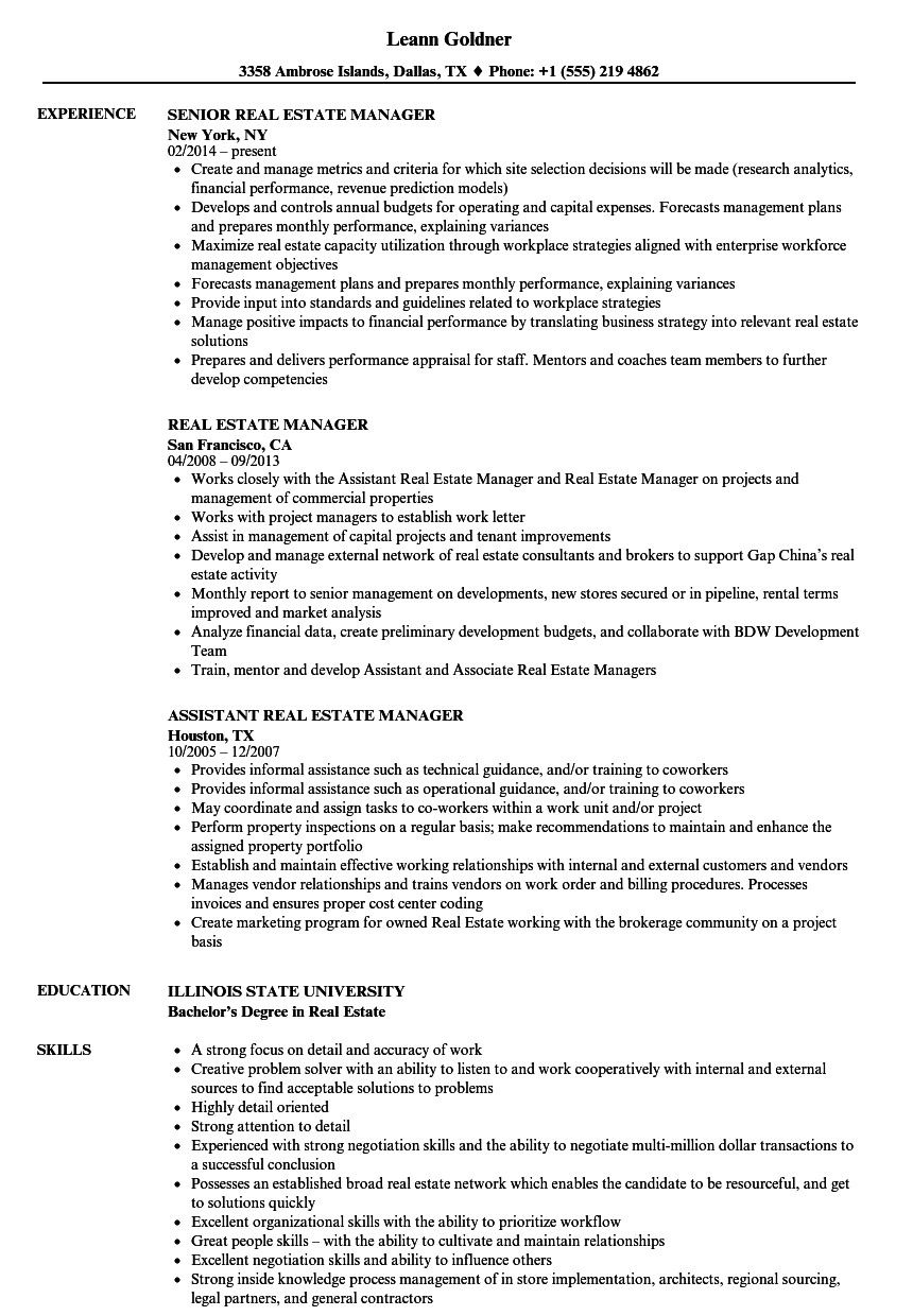 Real Estate Resume Sample Cool Real Estate Manager Resume