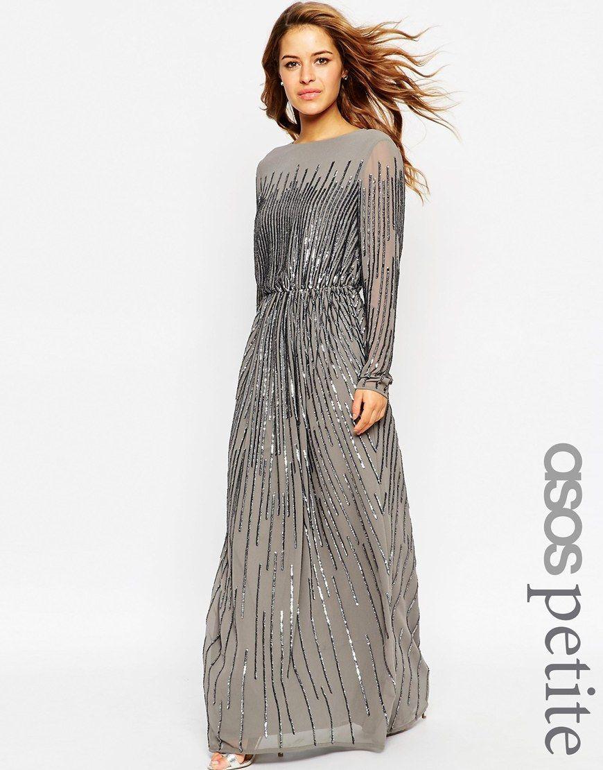Asos Petite Linear Sequin Long Sleeve Maxi Dress Dresses Celia Celana Rok Pant