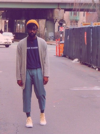 Get this look: http://lb.nu/look/8766355  More looks by Sam Dapper: http://lb.nu/samdapper  Items in this look:  Converse High Top, Urban Outfitters Cropped Pants, Zara Cardigan   #artistic #casual #classic