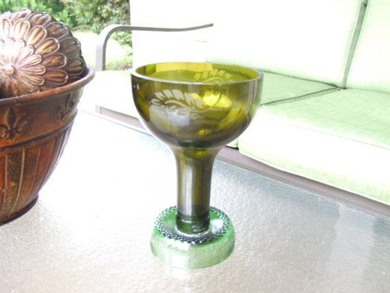 Beautiful, elegant, and unique multicolored wine glass made from a wine bottle