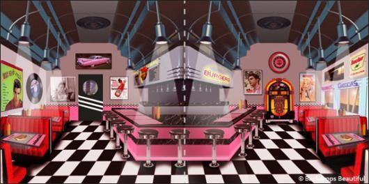 Backdrops: Diner Inside 2 Panel | Backdrops | Backdrops ...  Backdrops: Dine...