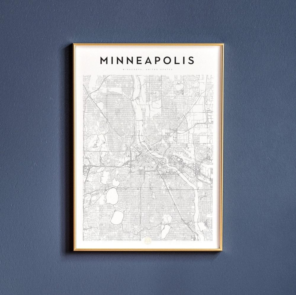 Minneapolis Minnesota Minneapolis Map Minneapolis Print Etsy Minneapolis Map Map Print Map Wall Art