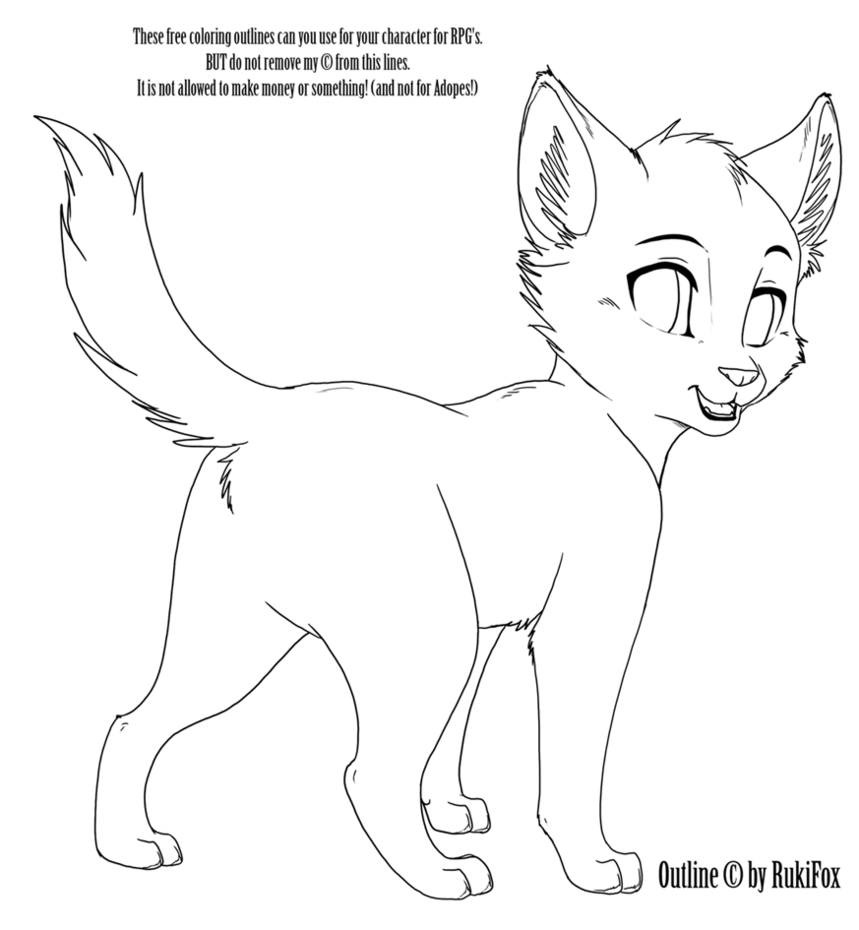 Kitten02 Outline by RukiFox on DeviantArt | Warrior Cats | Pinterest