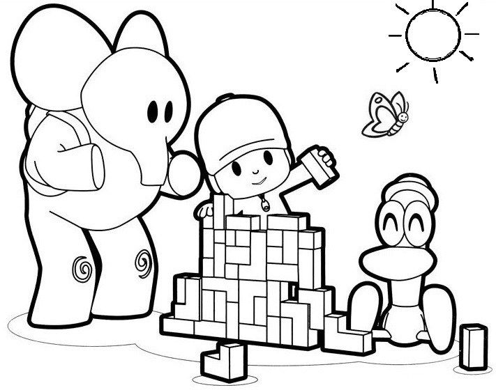 pocoyo and his friends coloring pages for small children