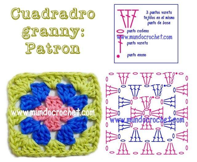 Como tejer un cuadrado granny a crochet o ganchillo con patron y ...