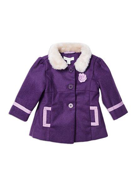 Pumpkin Patch - jackets - fur collar coat - W5TG40010 - purple passion - 12-18m to 6