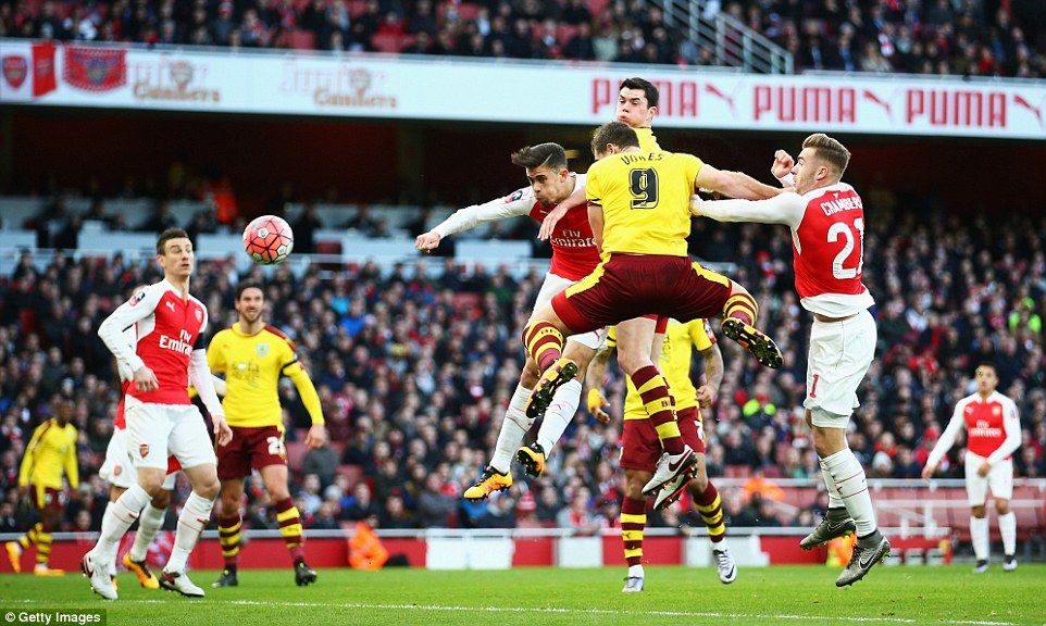 The Clarets' Sam Vokes, formerly of Wolverhampton Wanderers, surprisingly equalised for the Championship side on the half hour mark