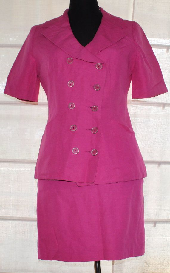 Vintage Hot Pink skirt suit size 12. 80's by TheBonjEmporium