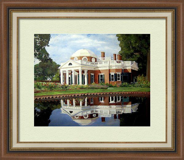 Monticello Framed Print featuring the painting Reflecting On Jefferson by J Luis Lozano