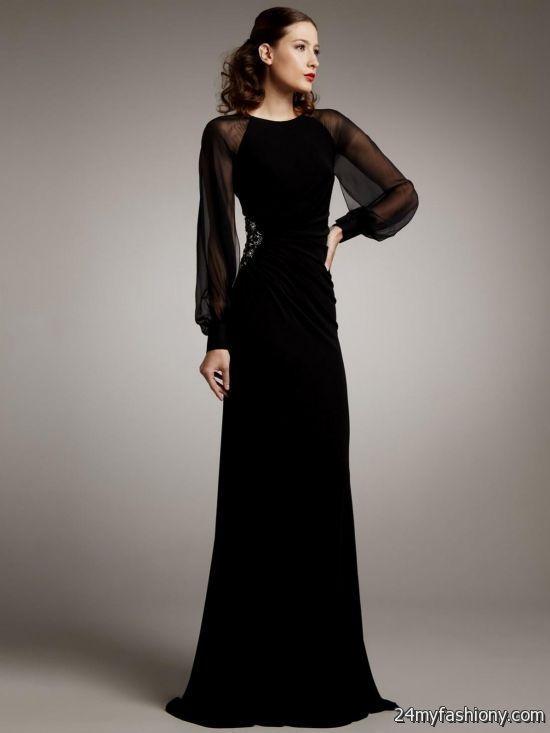 Long Sleeve Black Lace Dress Floor Length 2016 2017 B2b