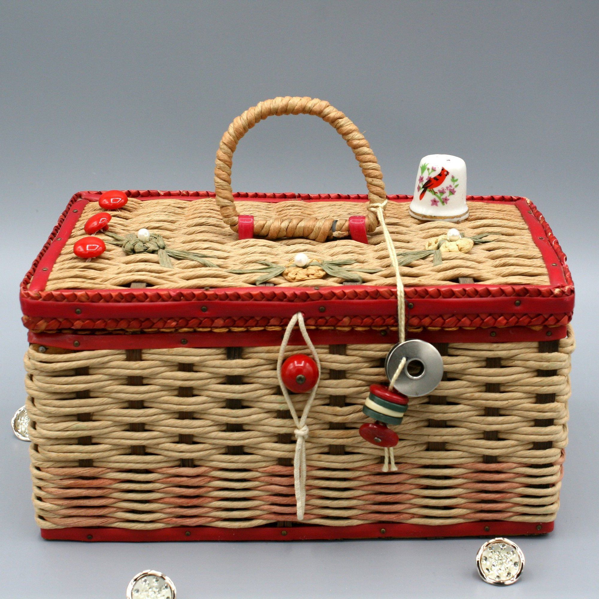 Cute vintage 1970s sewing kit basket jewelry box caddy red