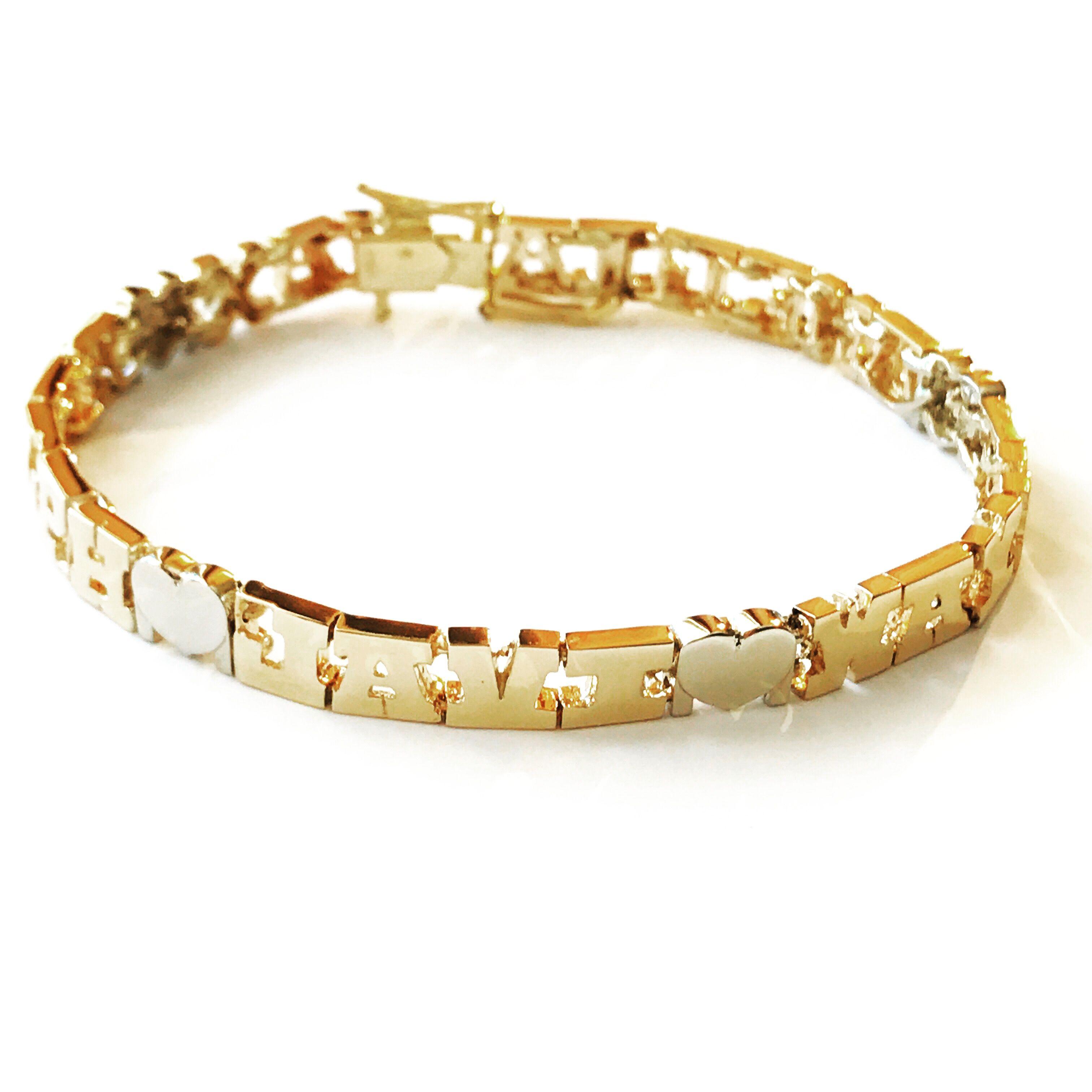 14K Gold Family Name Bracelet - Letters with Heart Separators ...