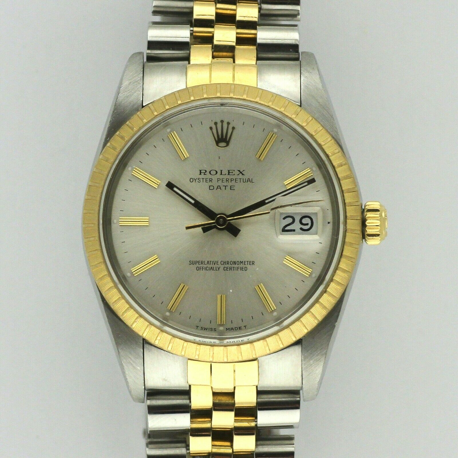Rolex Vintage 15053 Automatic Gold & Stainless Steel 1989 Men's 35mm Watch Silve #stainlesssteelrolex