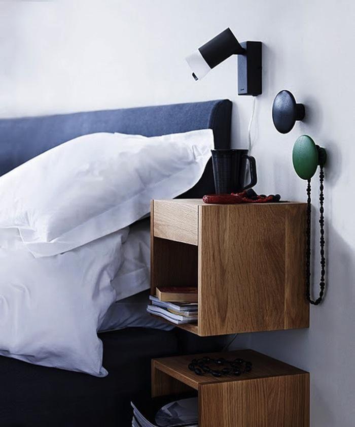 table de chevet suspendue id e chambre table de chevet. Black Bedroom Furniture Sets. Home Design Ideas