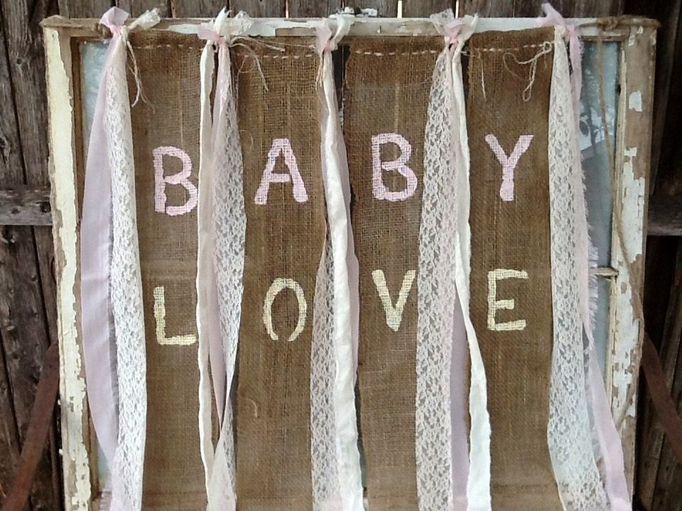 baby love burlap banner for babys room country shabby baby shower, Baby shower invitation