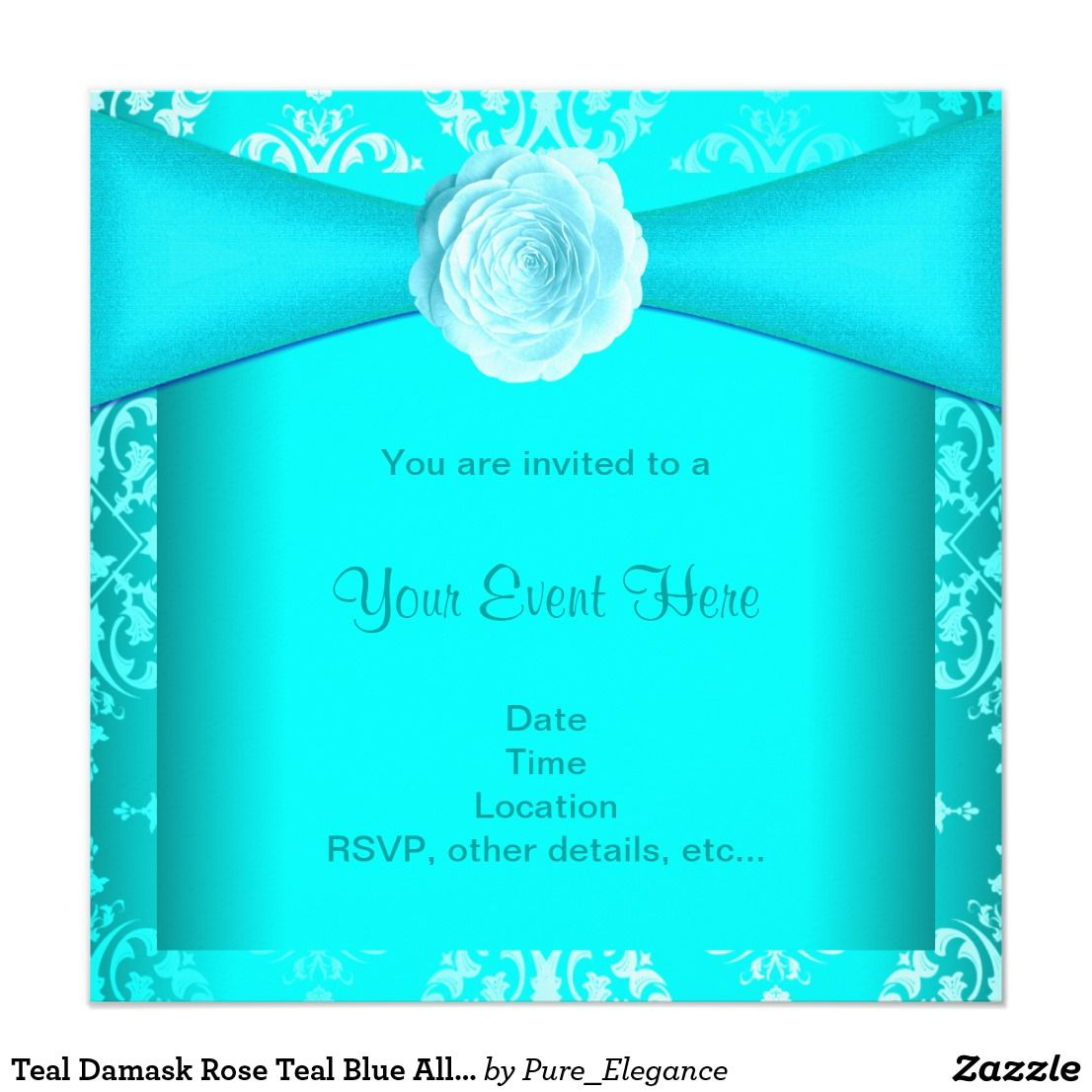 Teal Damask Rose Teal Blue All Occasion Card | Damask party, Party ...