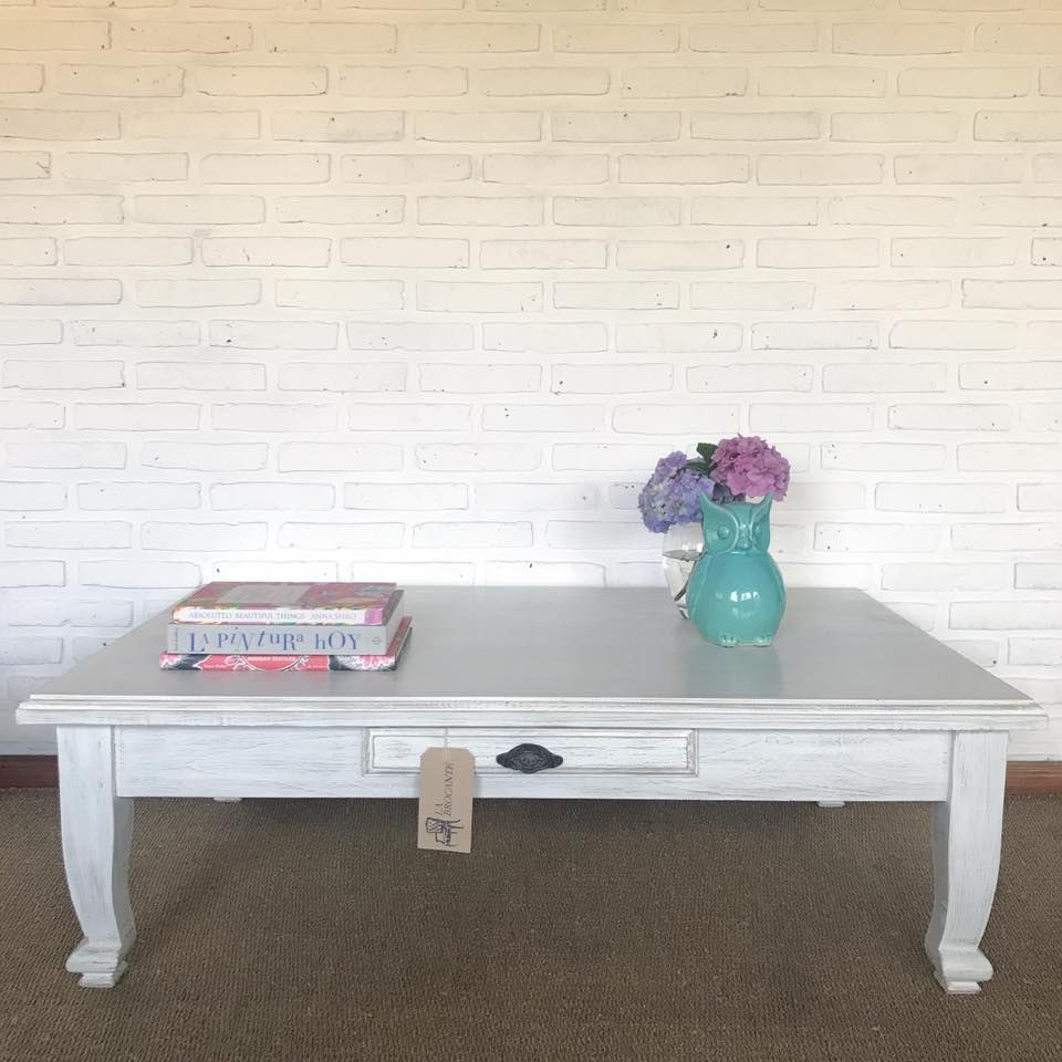 Mesa Ratona Provenzal Patinada En Blanco 1 25 X 0 80 X 0 40  # Muebles Patinados En Blanco