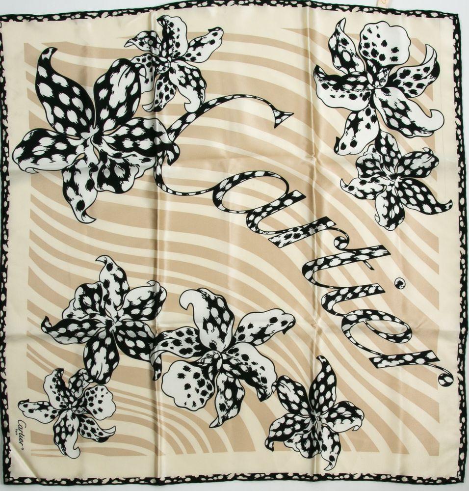 Details about Cartier Floral Logo Silk Black/Beige/White