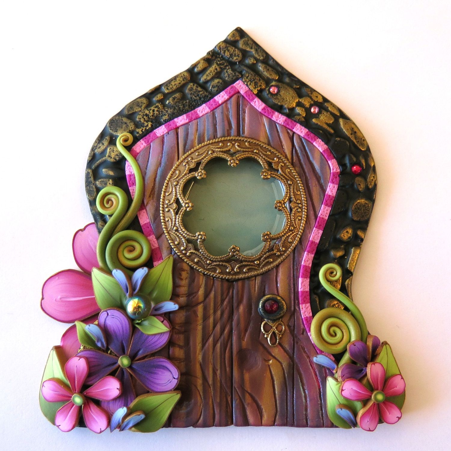 Fairy door pixie portal home decor fairy garden for Miniature fairy garden doors