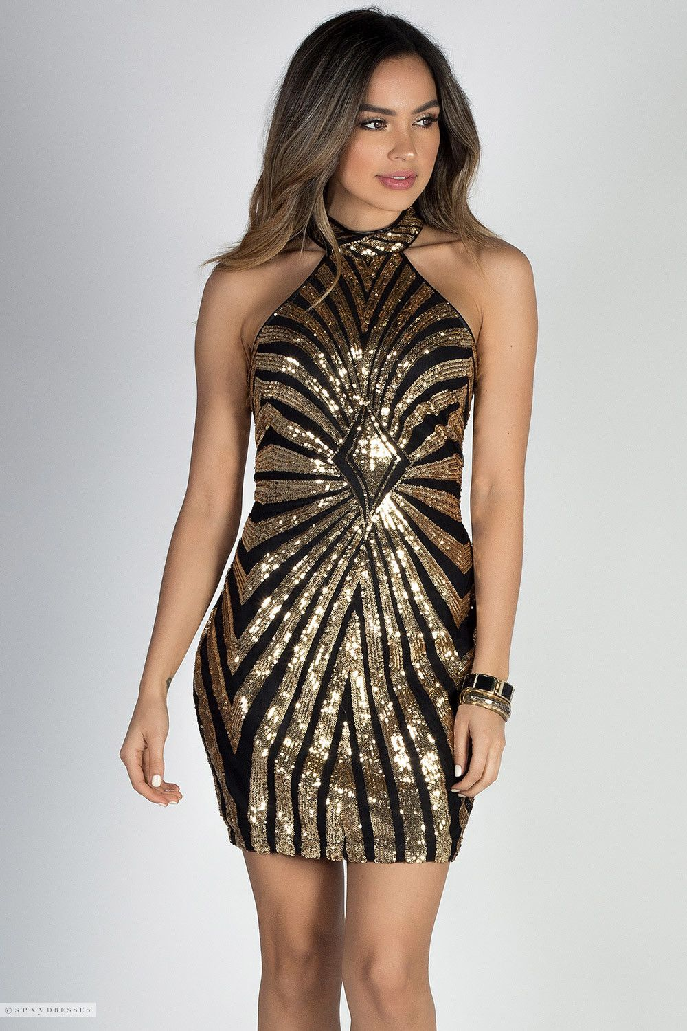 Geo Pattern Gold   Black High Neck Halter Sexy Sequin Party Dress 7f4652c8f