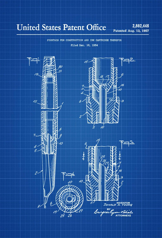1957 fountain pen patent patent print wall decor office decor 136801d82ae4c41e2c33995c384fa01eg ccuart Image collections