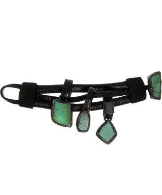 Monies - Crysop Leather Bracet with 3 pendant stones