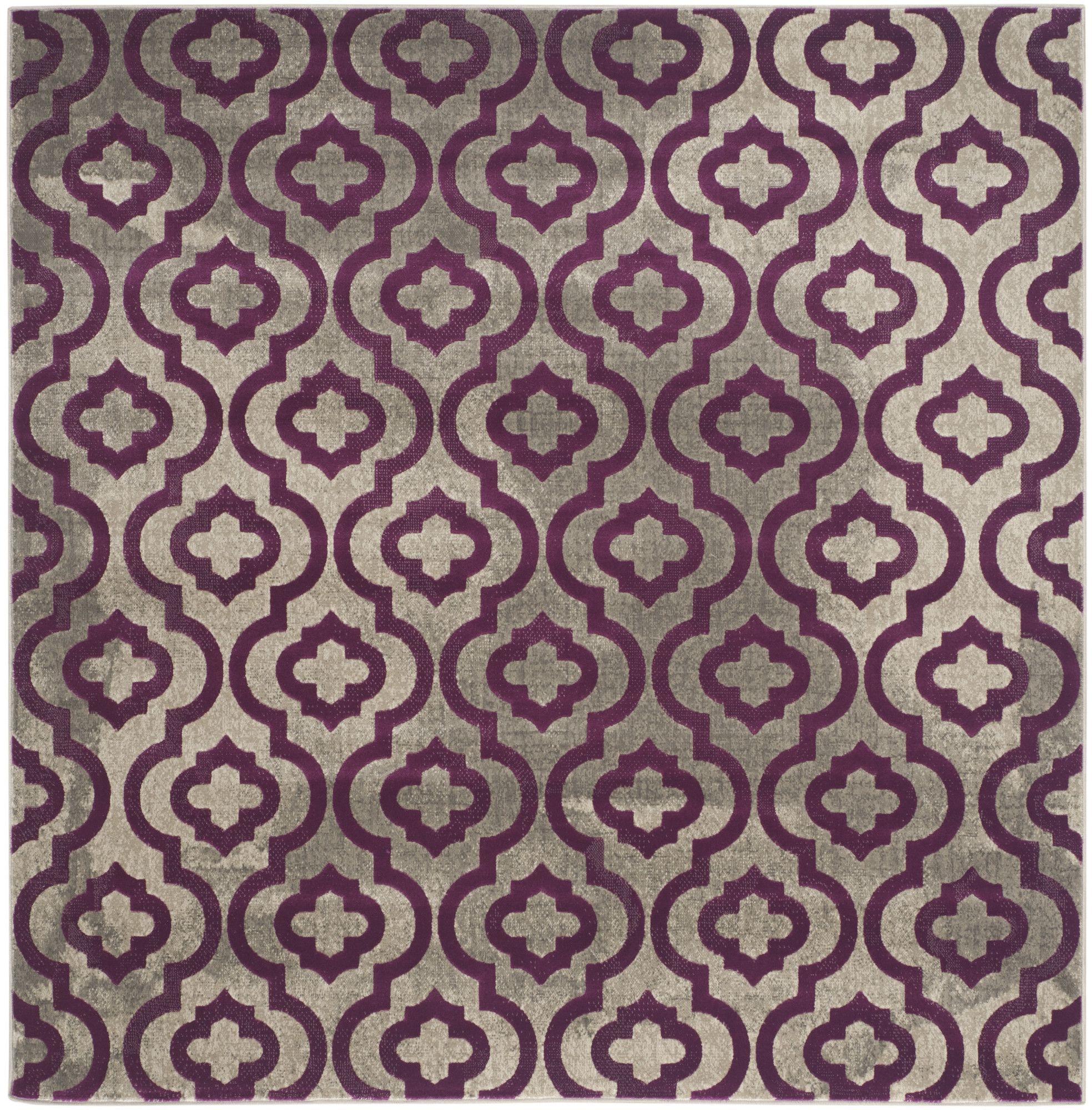 Porcello Light Gray & Purple Area Rug