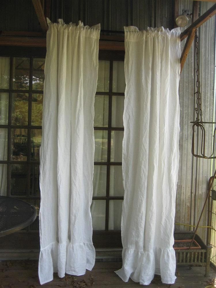 ruffled casual washed linen curtains white washed linen ruffled rh in pinterest com