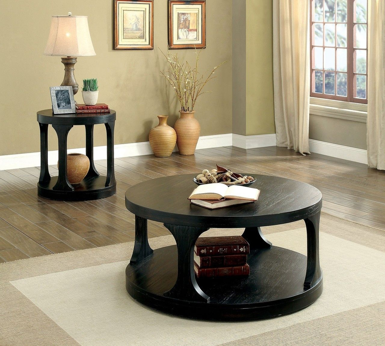Furniture of america cm4422 round cocktail table coffee