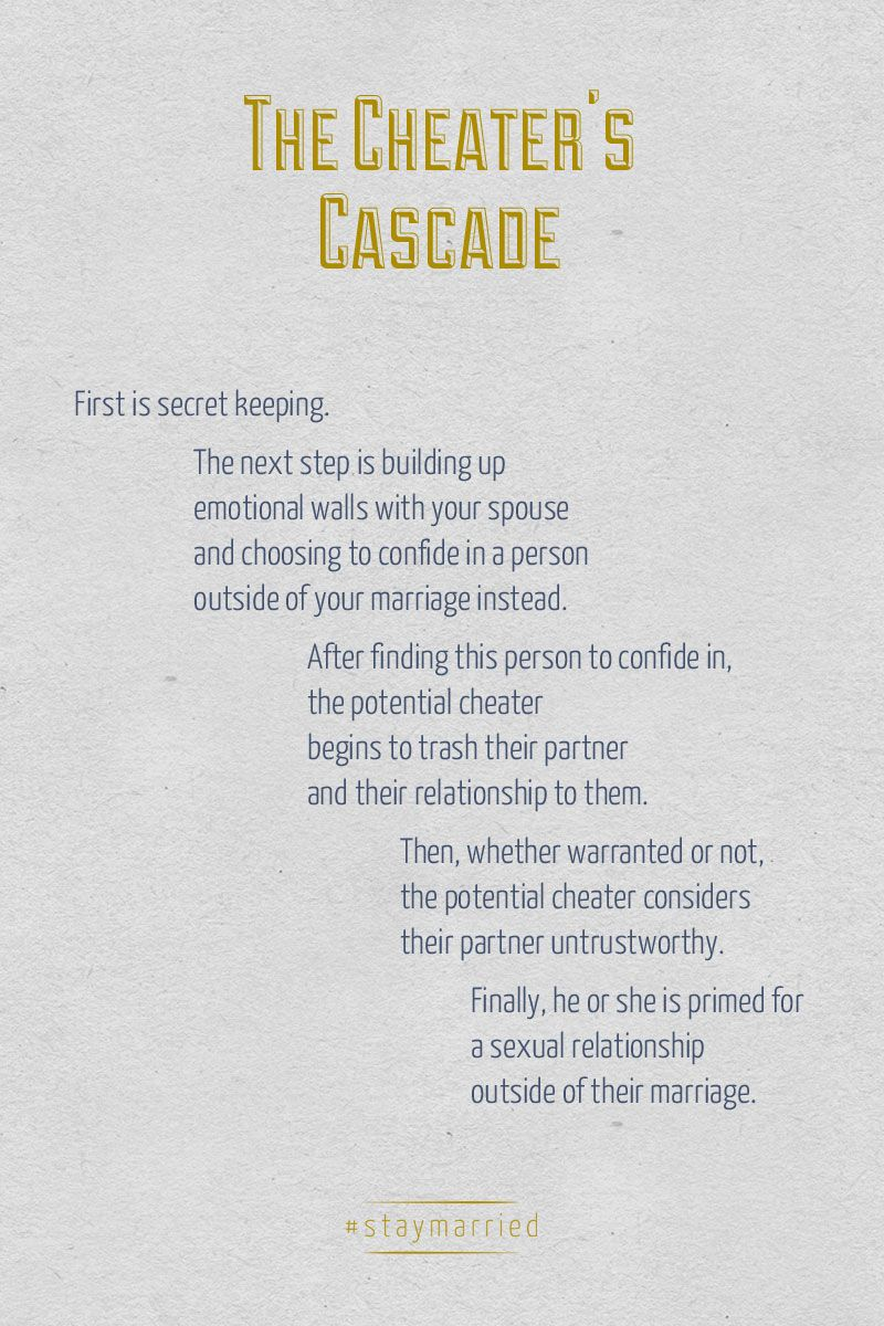 The Cheater's Cascade from Dr. John Gottman's book