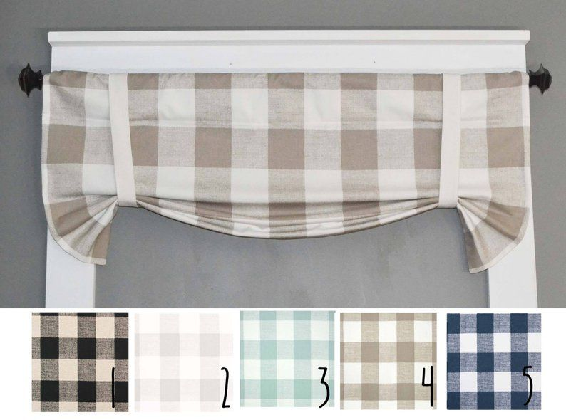 Plaid Valance Buffalo Plaid Kitchen Curtains Kitchen Valance Home Decor Farmhouse Roman Valance Bathroom Valance Fixed Tie Up In 2020 Farmhouse Kitchen Curtains Kitchen Curtains Valances Buffalo Plaid Curtains